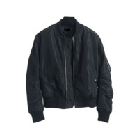 Black Windproof Bomber Jacket