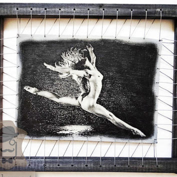 Nude Ballerina Erotic Fine Art On Leather Portrait From Photo Female Nudes Model Figure Sexy Wall Decor Adult Mature Content Boobs Hot Woman