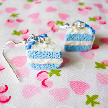Blueberry Cake Earrings, Cake Earrings, Cake Slice Earrings, Blueberry Earrings, Blueberry Cake, Dessert Earrings, Food Earrings, Lolita
