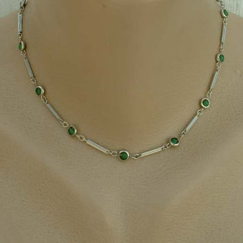 Atomic Geometric Choker Necklace Green Bead Station Links 15 inches