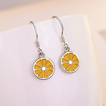 Trendy New Silver color Exquisite Lemon Slice Stud Earrings for Women Fruits Fine Silver Jewelry Bijoux