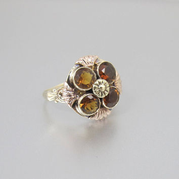 Victorian Golden Citrine Ring. Antique 10K Yellow Gold Halo Flower Engagement Ring. November Birthstone Jewelry