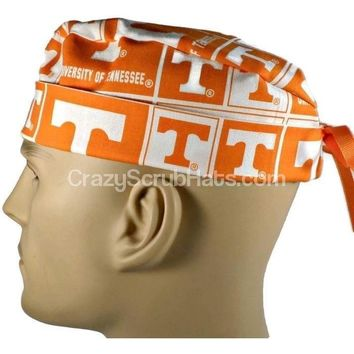 Men's Fold-Up Cuffed or Un-Cuffed Surgical Scrub Hat Cap in Tennessee Volunteers Squares