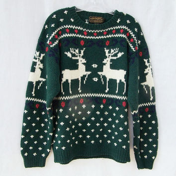Ugly Christmas sweater warm winter wool pullover jumper crew neck men women unisex Eddie Bauer reindeer sweater forest green