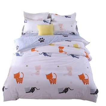 Lovely Cat Bedding Set Comforter/Quilt/Duvet Cover Single Twin Double Full Queen King Bed Linen Kids Girl's Bedroom Bright Color