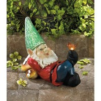Lazy Gnome Solar Power Illuminated Garden Statue
