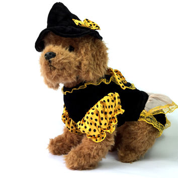 Halloween Witch Dog Costume with Hat