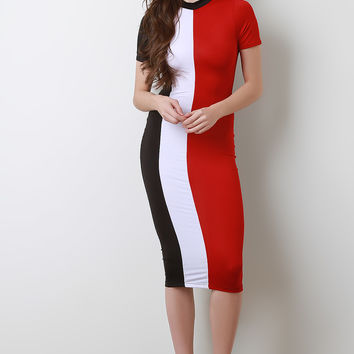 Mock Neck Colorblock Bodycon Dress | UrbanOG