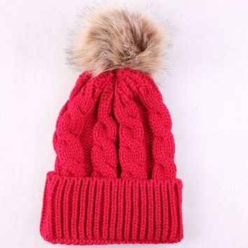 Luxury Cable Knit Fur Ball Pom Pom Beanie Real Raccoon Warm Wool Bobble Hat Winter Beanie Hat Crochet Cap Women Ear Protect