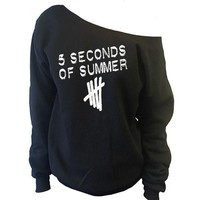 5 Seconds Of Summer 5sos tally Off-The-Shoulder Oversized Slouchy Sweatshirt