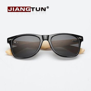 JIANGTUN Vintage Bamboo Leg Sunglasses Men Women Classic Brand Designer UV400 Wooden Sun Glasses Colorful Coating Mirror Points
