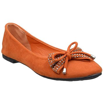 Womens Tassel Accent Studded Bow Ballet Flats Orange