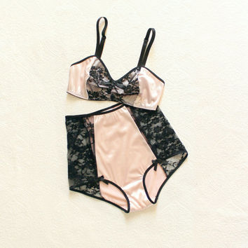 Pink and Black Boudoir Pin-Up 'Witching Hour' Satin and Lace High Waist Bra and Panties Set Handmade to Order