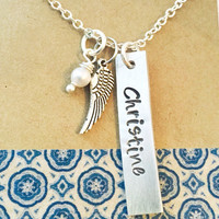 Memorial Necklace - Sympathy Gift - Memorial Gift - Angel Wing Necklace - I - Remembrance- Name Necklace