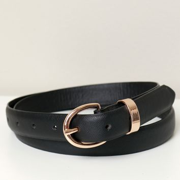 Leather Skinny Belt Black