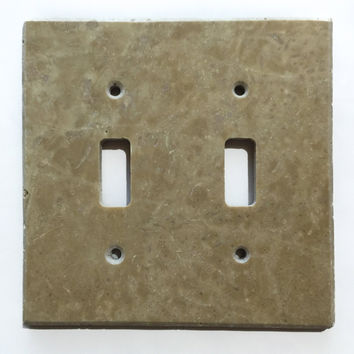 Light Walnut Travertine Double Toggle Switch Wall Plate / Switch Plate / Cover - Honed
