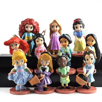 11pcs/set Disney Princess Toys Cinderella Belle Mermaid Ariel Sofia Snow White Fairy Rapunzel Action Figures Disney Doll Gift
