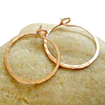 14K Rose Gold Filled 18 Gauge Hoops, Hammered Texture