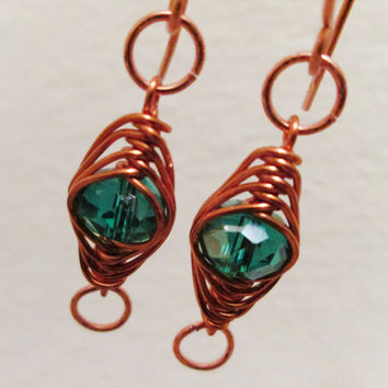 Herringbone Copper Wire Wrapped Green Swarovski Crystal Beaded Dangling Earrings