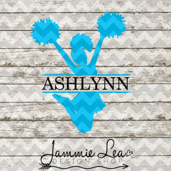 Cheer Jump - Custom Name - You Pick Size - Vinyl Decal Sticker