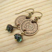 Green crystal and penny earrings, faceted Swarovski erinite beads, copper brass, coins