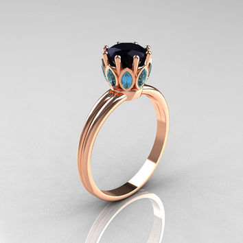 Modern Antique 18K Pink Gold Marquise Aquamarine 1.0 CT Round Black Diamond Solitaire Ring R90-18KPGBDAQ