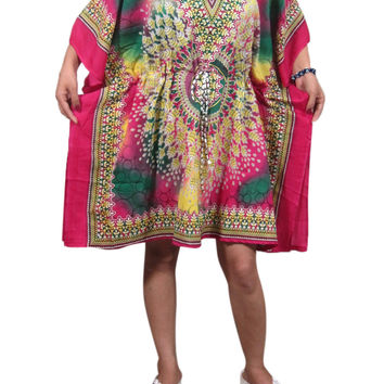 Women's Bohemian Kaftan Dresses Pink Short Caftan Cover up Tunic Beach Dress