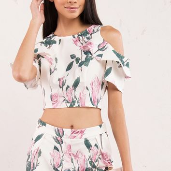 Pink Rose Floral Crop Top with Side Ruffles