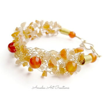Carnelian wire crochet bracelet  - wrapped with gold plated non tarnish wire and brass wire - gemstones bracelet jewelry