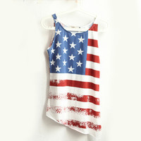Sinful Theme American Flag Tank Top USA Patriotic Women''s Biker Vest Tees S-XL