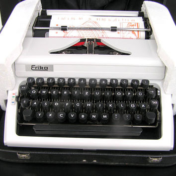 Typewriter RARE find UNUSED new old stock grayish white Erika home office decor writing retro writer
