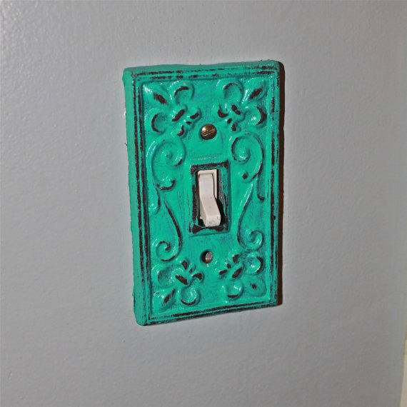 Teal blue decorative light switch plate from for Unique light switch plates