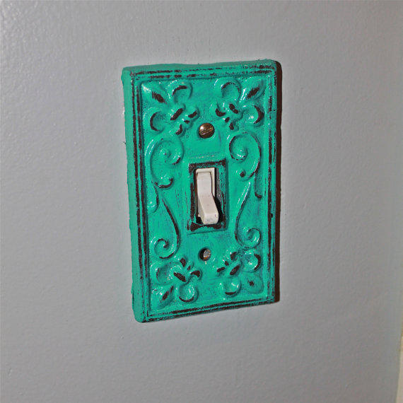 Teal blue decorative light switch plate from aquaxpressions on - Wrought iron switch plate covers ...
