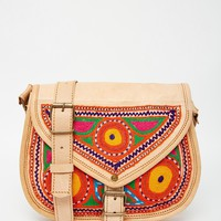Reclaimed Vintage Embroidered Leather Saddle Bag