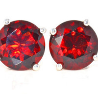 6mm Genuine Garnet Stud Earrings in Sterling Silver