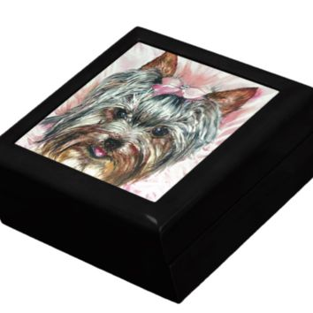 Keepsake/Jewelry Box - Yorkie Head in Pink