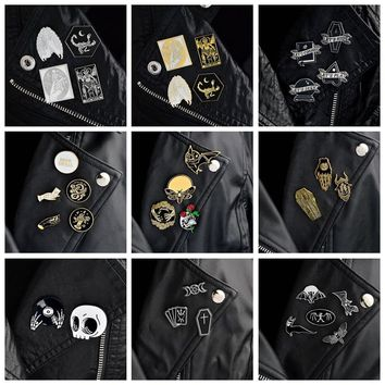 QIHE JEWELRY 2~5pcs/set Goth pins Punk pins Brooches for men Dark lapel pins Skull Devil Bat Coffin Skeleton Gothic jewelry