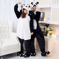 Pajamas Women Panda Onesuits for Adults Sleep Lounge Pajamas Panda Sleepwear Flannel Animal Pajamas One Piece