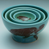 Sea Turtle Nesting Bowl Set/ pottery