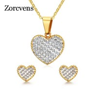ZORCVENS New Brand Cubic Zirconia Heart Pendant Wedding Jewellery Gold-Color Necklace Earrings Jewelry Set For Women