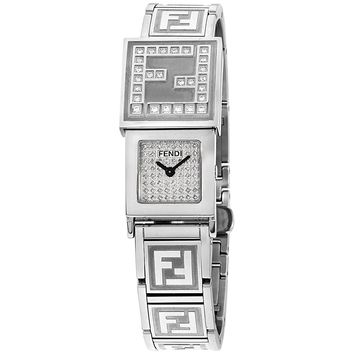 Fendi white dial, stainless-steel bracelet watch