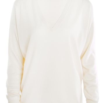 Brunello Cucinelli White Cashmere Boyfriend Sweater