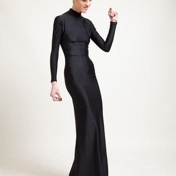 Swan Necked Maxi Gown with Train in Caviar Black or Stingray Leatherette