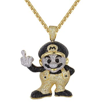 Custom Black &Yellow Iced Out Cartoon Character Pendant Chain