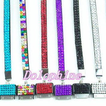 "Multi- Color Necklace 17"" Bling Rhinestone Lanyards Holder for iPhone/ iPod"