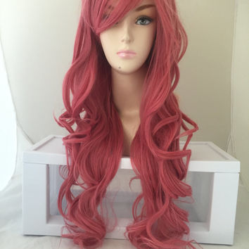 ON SALE // Tickle Me Pink Blend / Long Curly Layered Wig with Natural Scalp Piece Cosplay Wig, Costume Wig, Daily Wear