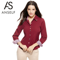 ANSELF Fashion Women Diamonds Plaid OL Shirts Turn-down Collar Office Blouse Long Sleeve Ladies Tops Blusas Camisas Femininas