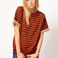 ASOS Sweatshirt with Roll Back Short Sleeve in Stripe at asos.com