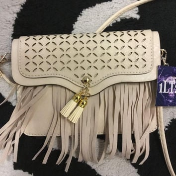 Small ivory fringe purse  crossbody