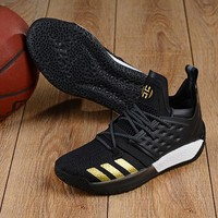 DCCK A155 Adidas James Harden Vol.2 Boost Training Basketball Shoes Black Gold
